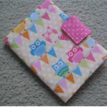 Notepad and Crayon Wallet - Owl and Bunting - Girl - Gift