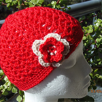 Crochet, 2-3 yrs, Wool, Childs Red Beanie Hat with Flower