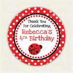Ladybug Ladybird Birthday Stickers 12 x 65mm