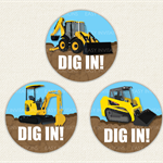 Digger Birthday Stickers 12 x 60mm Bobcat Loader Tractor