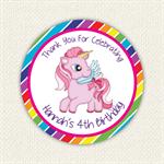 Rainbow Unicron Pony Birthday Stickers 12 x 60mm