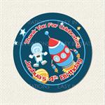 Space Rocket Astronaut Birthday Stickers 12 x 60mm