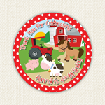 Farm Animal Birthday Stickers 12 x 60mm Horse Cow Pig
