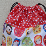 Cord Drawstring Swim bag/ library bag, PUL, Waterproof,Babushka Doll pattern.