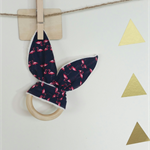 Wooden teething ring bunny ear flamingos