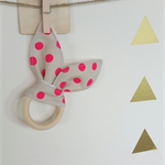 Wooden teething ring bunny ear pink neon  dot spot