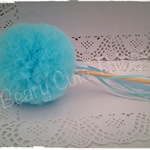 Pom Pom Tulle Fairy Wand -aqua blue turquoise