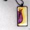 Decorative flower original painted pendant necklace; purple, yellow, pink