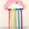 Cloud and rainbow hair clips holder, felt, pink, butterfly, organiser