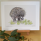 "Echidna 12""x 8"" Print Australian wildlife wall art with matt frame board"