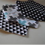Black and White Mix Adjustable Baby Bandana Bibs with Bamboo Fleece