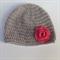 crochet baby beanie | grey, watermelon pink rose | gift | newborn - 3+ months