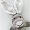 Soft Brown/Blue/Cream Hand Knitted Bunny Rabbit with Cute Big Ears