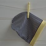 Unisex slouch hat - navy white yellow, reversible, beanie