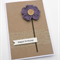 Rustic Birthday Card - Purple Crochet Flower with wooden button