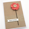 Rustic Birthday Card - Coral Pink Crochet Flower with wooden button