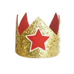 Glitter Crown  - Gold Red - Star or Heart -  Custom
