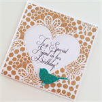 Kraft lace with teal aqua glitter bird for a special friend happy birthday card