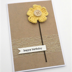 Rustic Birthday Card - Yellow Crochet Flower with wooden button