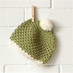 pom pom beanie | crochet | baby | soft wool | green
