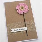 Rustic Birthday Card - Soft Pink Crochet Flower with wooden button