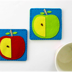 Apple - Pure wool felt Coasters (set of 2), tableware, thick felt cup coasters,