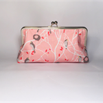 Cottage birds in pink large clutch purse