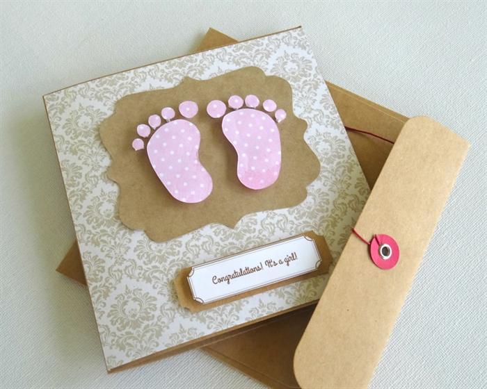 baby girl gift card baby shower card gift card baby feet newborn - Baby Gift Card