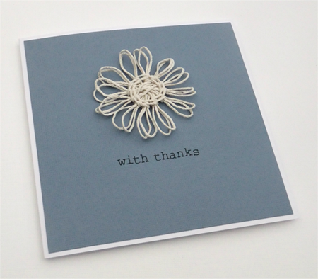 Twine Daisy Flower Card - with thanks