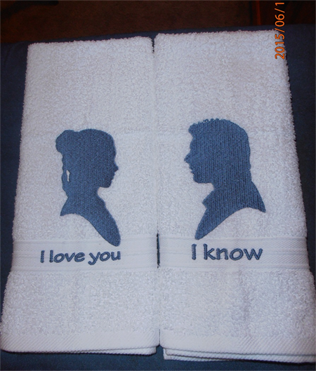 """Starwars Inspired, """"I Love You"""", """"I Know"""", Embroidered"""