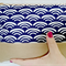 Zip Clutch - Purple/white crescent pattern, tan base. Pouch Bag+tassel.