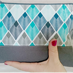 Zip Clutch - Teal/navy/grey abstract feather pattern & grey base. Bag+tassel.