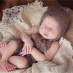 Mohair Overalls and Bonnet Set / Newborn Photography Prop / Unisex Baby Gift