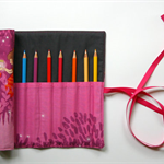 Summer Night Lights Pencil Roll in Magenta Includes 12 Quality Staedtler Pencils