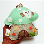 Glittery Mint Toadstool - Tooth Fairy pillow 100% pure wool felt
