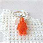 LEGO MAN BAG TAG - Handmade orange glittered resin