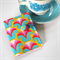 Tea Bag Wallet - Big Retro Blooms in pink, yellow & blue.