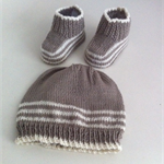 Hand Knit, 3-6m Baby Beanie Hat & Bootie Shoes, Brown / Cream