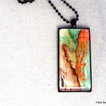 Flower, botanical, hand painted, original, pendant necklace; orange, green,