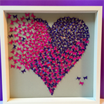Butterflies Heart wall art -paper craft heart in 3d wooden frame