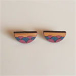Hand painted bamboo laser cut scallop earrings