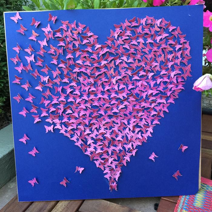 Pink Butterflies Heart Wall Art 3d Paper Heart Frame