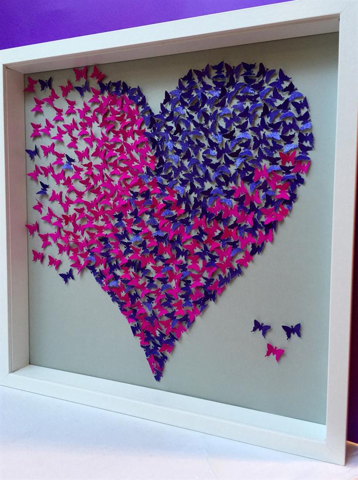 Butterflies Heart Wall Art Paper Craft Heart In 3d Wooden Frame
