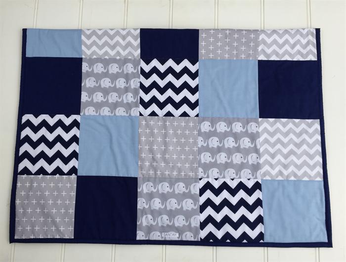 Baby Boy Navy Blue, Baby Blue & Grey Elephant Patchwork Cot Quilt ... : boys patchwork quilt - Adamdwight.com