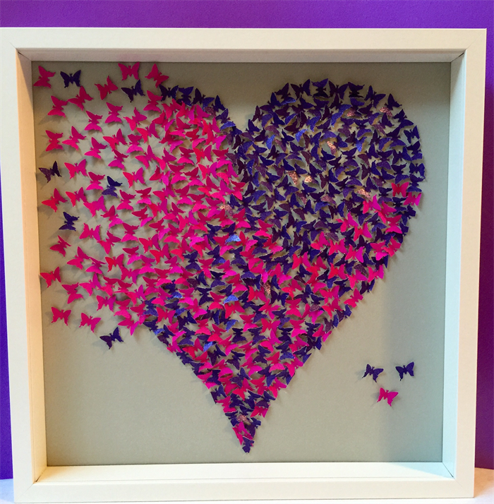 Butterflies Heart Wall Art Paper Craft Heart In 3d Wooden Frame