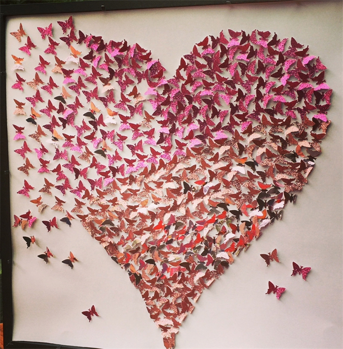 3d Butterfly Heart Wall Art Heart Frame Paper Wall Art