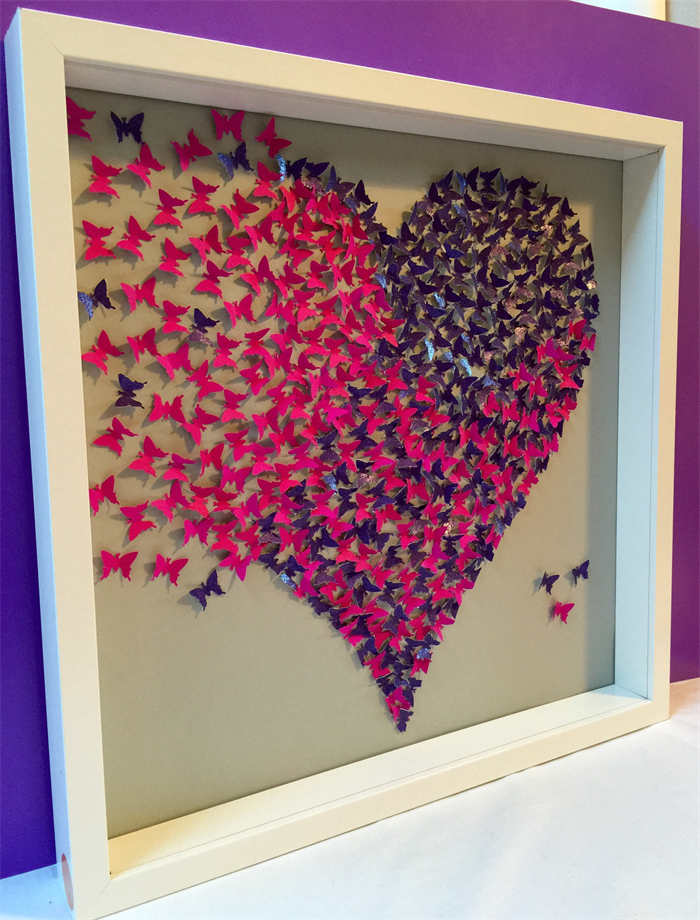 ... Butterflies Heart wall art -paper craft heart in 3d wooden frame ... & Butterflies Heart wall art -paper craft heart in 3d wooden frame ...