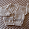 Size 2 yrs hand knitted cardigan; fawn  & camel, OOAK, washable, boy
