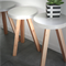 Smooth edged concrete top side table with timber legs