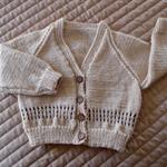 Size 2 yrs hand knitted cardigan; fawn  & camel, OOAK, washable, boy